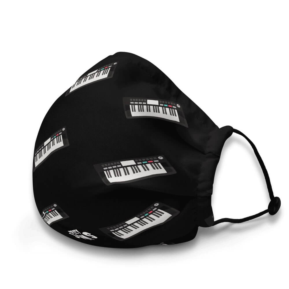 Gifts for piano, synth and keyboard players- keyboard synthesizer printed in patterns on a black black face mask -Spicy Jams