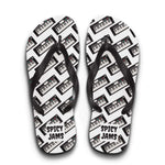 Load image into Gallery viewer, Gifts for piano, synth and keyboard players- keyboard synthesizer printed in patterns on white rubber-soled flip flops -Spicy Jams
