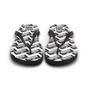 Gifts for piano, synth and keyboard players- keyboard synthesizer printed in patterns on white rubber-soled flip flops -Spicy Jams