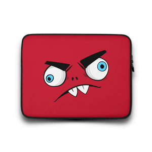 Gifts For Rock Fans- Red Mascot Monster Rocker- black neoprene laptop sleeve 13 inch-Spicy Jams- Metal Merch