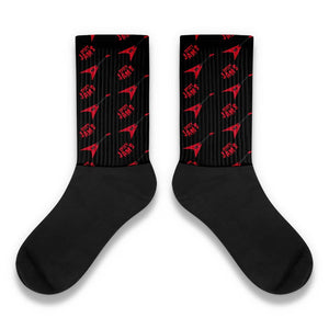 Red flying V guitar patterns- Unique Socks- Black music Socks