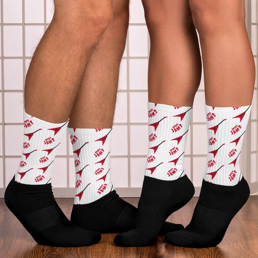 Red flying V guitar patterns- Unique Socks- White music Socks