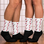 Load image into Gallery viewer, Red flying V guitar patterns- Unique Socks- White music Socks