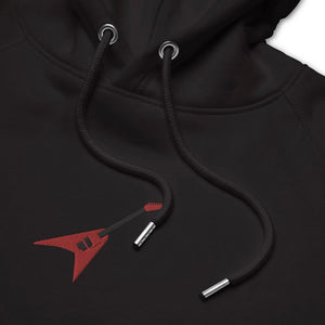 Unisex eco hoodie- black embroidered hoodie- Red Jackson Flying V embroidery- Gifts for guitar players- Spicy Jams