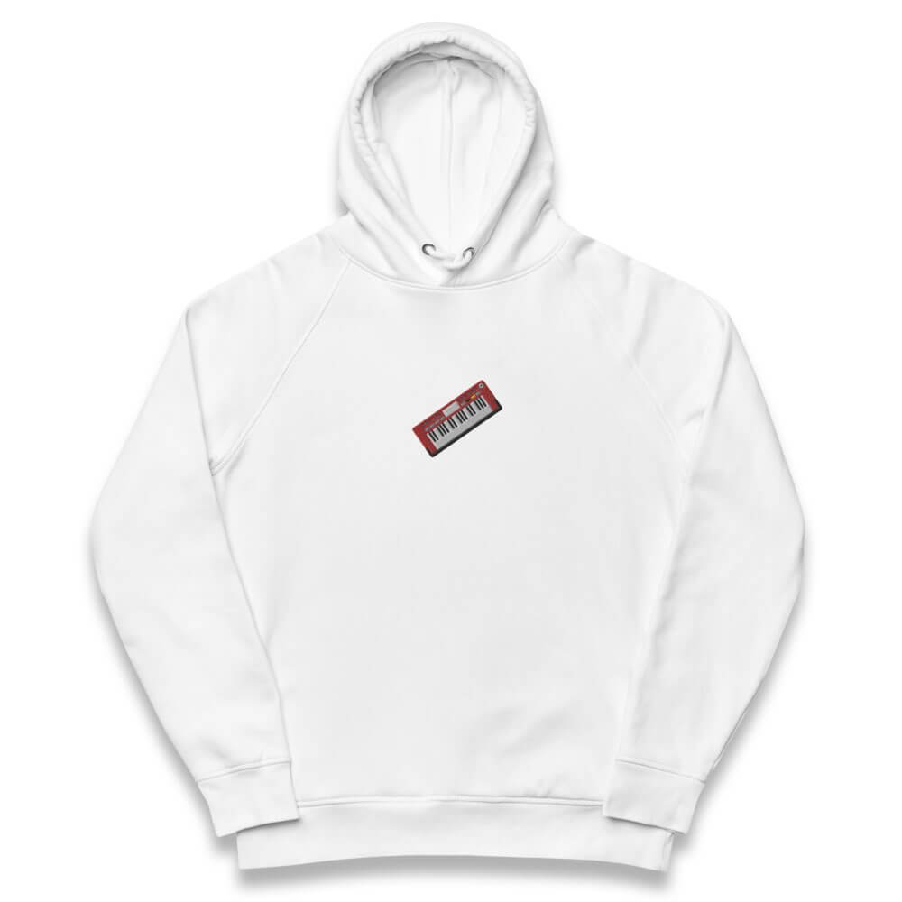 Unisex eco hoodie- white embroidered hoodie- Spicy Jams Logo embroidery- Gifts for keyboard players- Spicy Jams