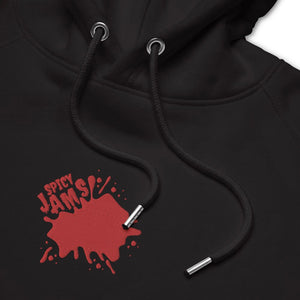 Unisex eco hoodie- black embroidered hoodie- Spicy Jams Logo embroidery- Gifts for keyboard players- Spicy Jams