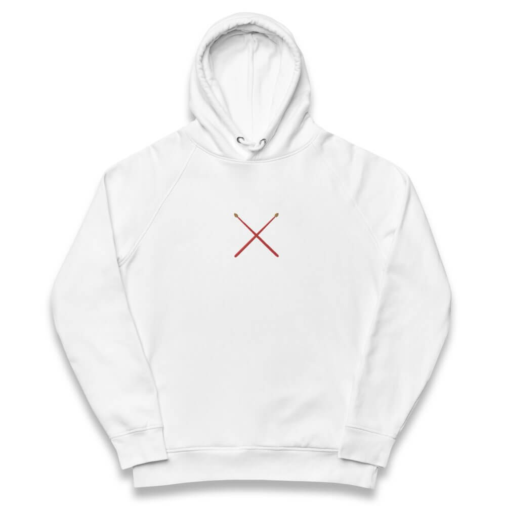 Unisex eco hoodie- white embroidered hoodie- Drumsticks embroidery- Gifts for drummers- Spicy Jams