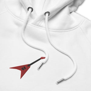 Unisex eco hoodie- white embroidered hoodie- Red Jackson Flying V embroidery- Gifts for guitar players- Spicy Jams