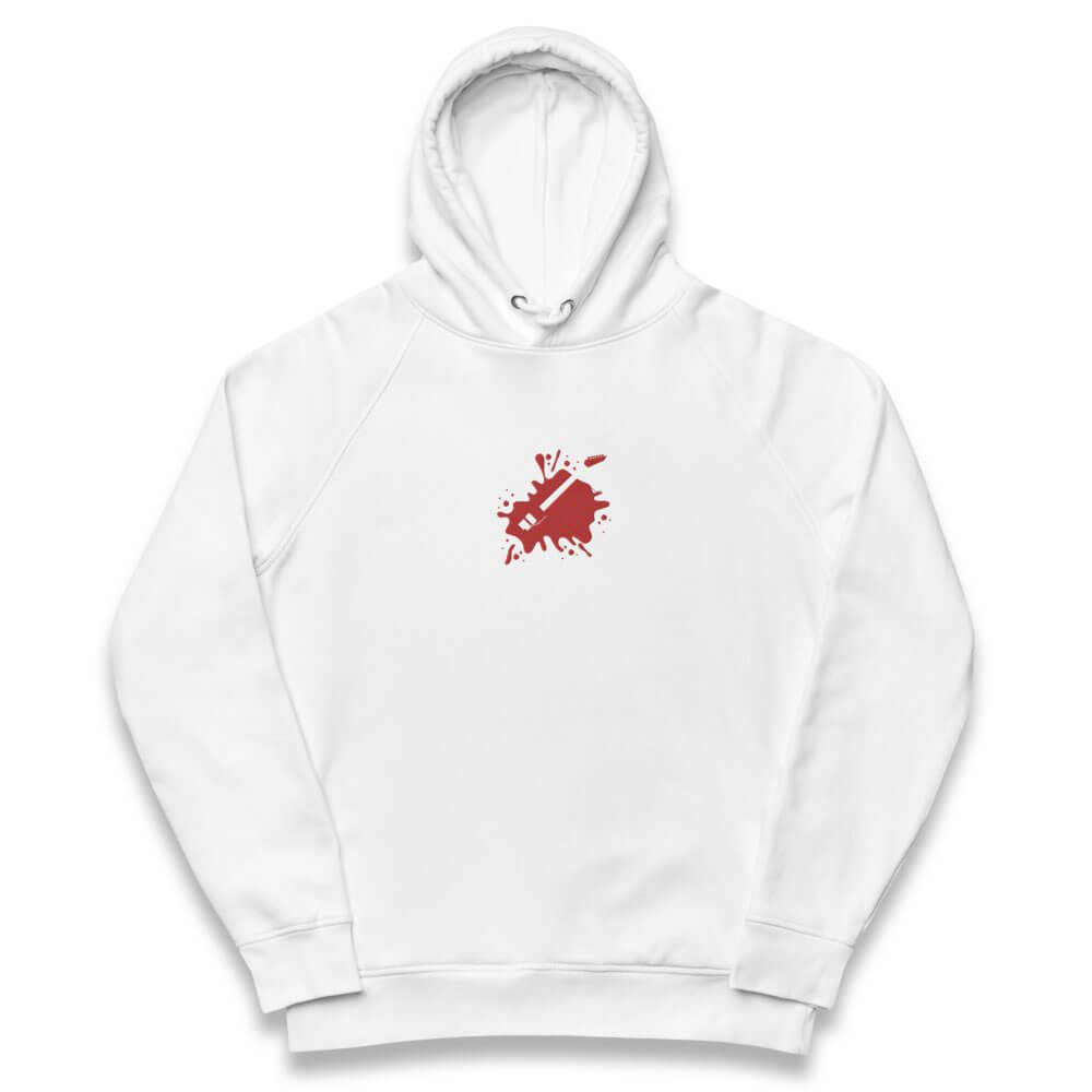 Unisex eco hoodie- white embroidered hoodie- Signature Flying V Guitar embroidery- Gifts for guitar players- Spicy Jams