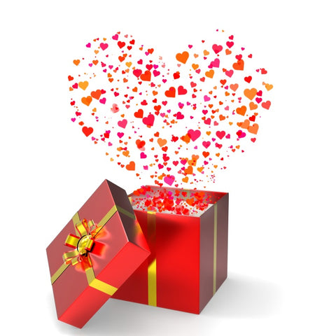 bright and vivid red gift box with colorful hearts floating out as it is opened