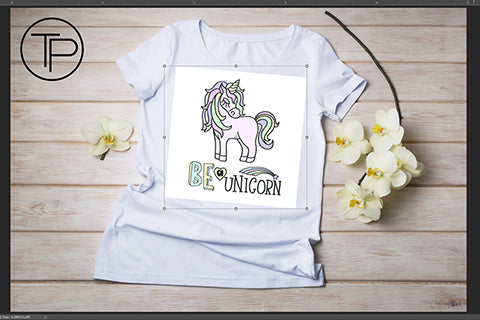 white t-shirt mockup with unicorn