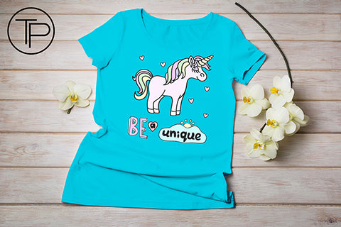 blue t-shirt mockup with unicorn
