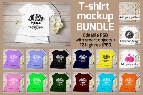 T-shirt mockup bundle. 12 colors t-shirt JPEG and PSD with Smart object - Tasipasart