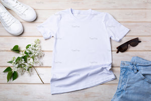 Women T-shirt mockup with lilac and white sneakers - Tasipasart