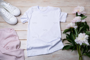 White t-shirt mockup with pink jumper, sport shoes and tender peonies - Tasipasart