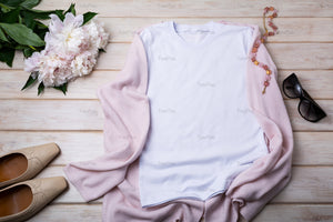Women T-shirt mockup with murano glass necklace, flat shoes and pink peony - Tasipasart