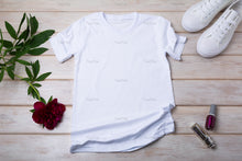 Load image into Gallery viewer, Female T-shirt mockup with burgundy peony, nail polish and lipstick - Tasipasart