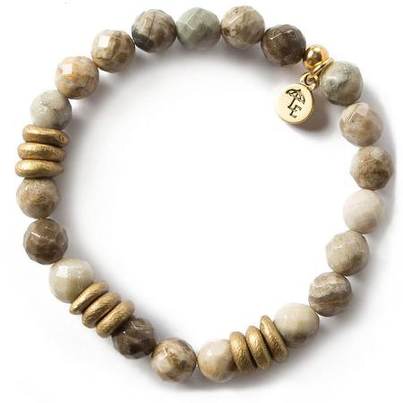 Lenny and Eva Silver Leaf Jasper Gemstone Bracelet