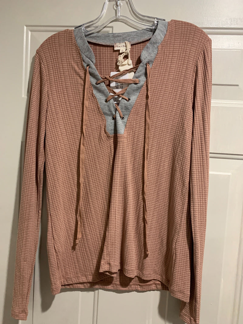 Sale! Tan lace-up Top