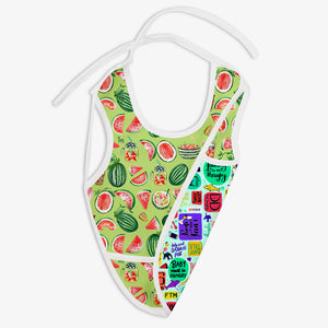 Melon Splash and Mommy Talk - Waterproof Cloth Bib