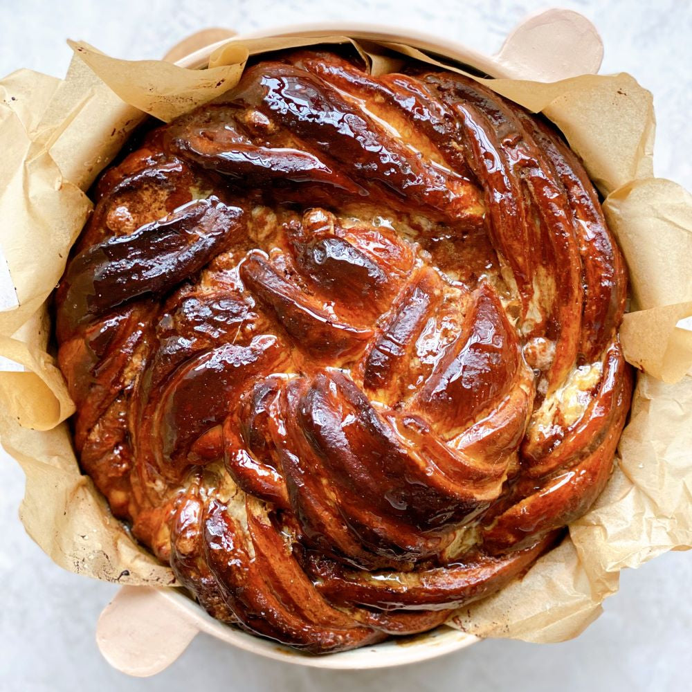 Dark Chocolate, Tahini, and Halva Brioche Babka