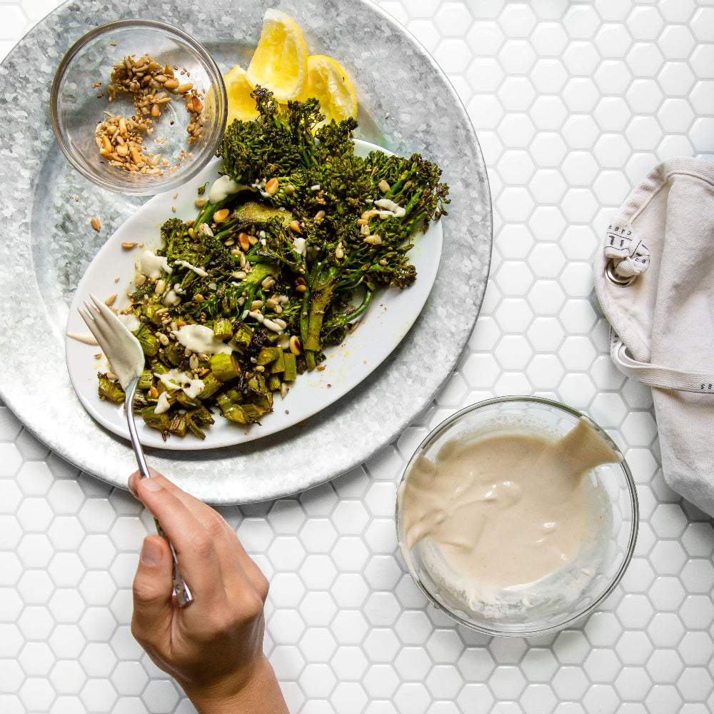 Broccolini With Shawarma Spice & Tahini Sauce