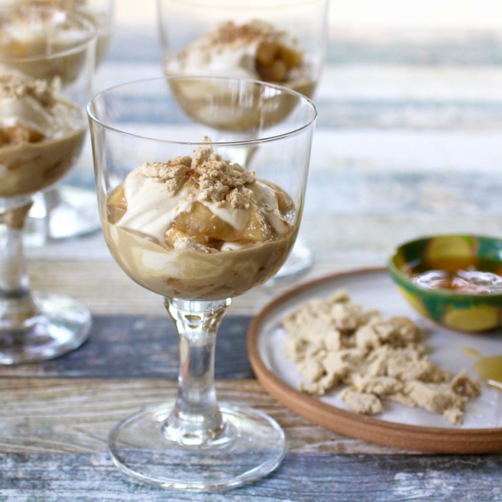 Apple Compote Parfait with Creamy Tahini & Flaked Halva