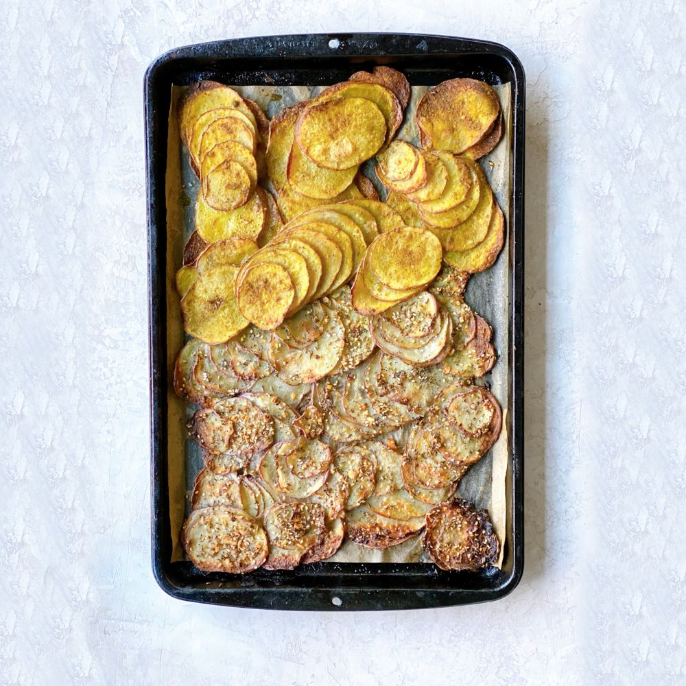 Oven Baked Spiced Potato Chips