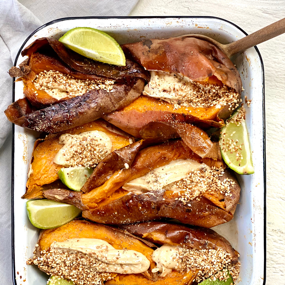 Roasted Sweet Potatoes With Tahini Lime Butter