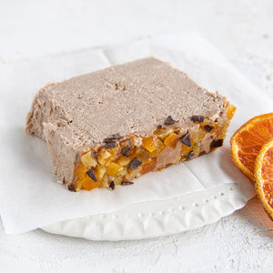 A plated slice of Seed + Mill Chocolate Orange Halva. Gluten-free, dairy-free, and vegan. Crumble into granola, cookies, yogurt, or melt on toast!
