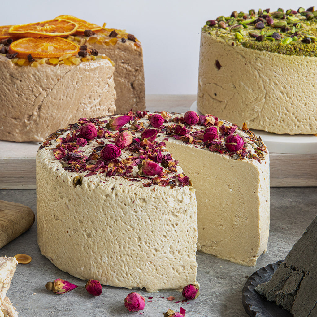 Some Seed + Mill Faves: Chocolate Orange, Rose, and Pistachio. Available in 6.6 lb rounds. Seed + Mill Halva. Gluten-free, dairy-free, and vegan. Whole cake serves approx. 40-45 hungry guests! Buy a whole cake and add some excitement to any celebration!