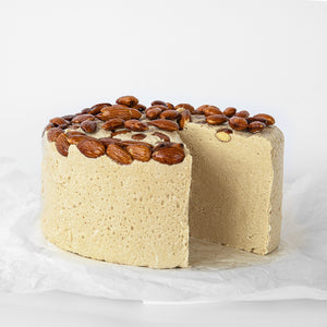 Available in 6.6 lb rounds. Seed + Mill Marzipan Halva. Gluten-free, dairy-free, and vegan. Whole cake serves approx. 40-45 hungry guests! Buy a whole cake and add some excitement to any celebration!