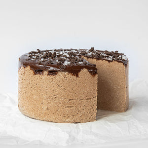 Available in 6.6 lb rounds. Seed + Mill Sea Salt Dark Chocolate Halva. Gluten-free, dairy-free, and vegan. Whole cake serves approx. 40-45 hungry guests! Buy a whole cake and add some excitement to any celebration!