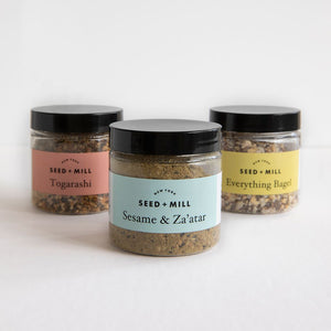 Image of three Seed + Mill Spice blends; Togarashi, Sesame & Za'atar, Everything Bagel. See our recipes page for inspiration.