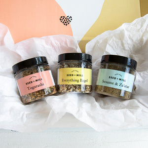 Seed + Mill Spice blends in gift wrapping; Togarashi, Sesame & Za'atar, Everything Bagel. Go to our 'Create a gift' page to send some love to that special someone.