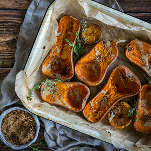 Roasted Honeynut squash with a sprinkle of Seed + Mill Togarashi Spice Blend. See our recipes page for inspiration.