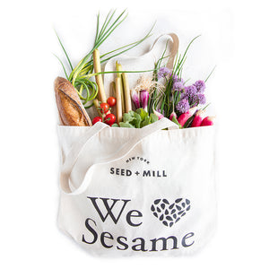 Show how much you love sesame with a Seed + Mill tote bag, and take us to the grocery store with you!
