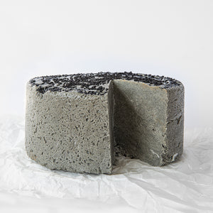 Available in 6.6 lb rounds. Seed + Mill Black Sesame Halva. Gluten-free, dairy-free, and vegan. Whole cake serves approx. 40-45 hungry guests! Buy a whole cake and add some excitement to any celebration!