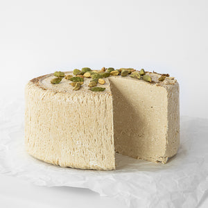 Available in 6.6 lb rounds. Seed + Mill Cardmom Halva. Gluten-free, dairy-free, and vegan. Whole cake serves approx. 40-45 hungry guests! Buy a whole cake and add some excitement to any celebration!
