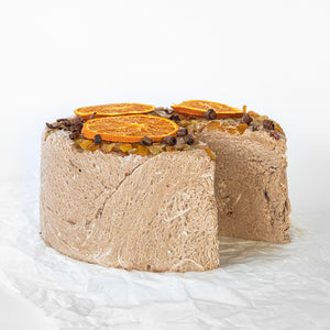 Available in 6.6 lb rounds. Seed + Mill Chocolate Orange Halva. Gluten-free, dairy-free, and vegan. Whole cake serves approx. 40-45 hungry guests! Buy a whole cake and add some excitement to any celebration!