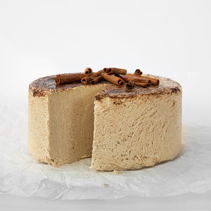 Available in 6.6 lb rounds. Seed + Mill Cinnamon Halva. Gluten-free, dairy-free, and vegan. Whole cake serves approx. 40-45 hungry guests! Buy a whole cake and add some excitement to any celebration!