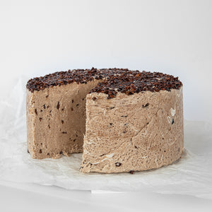 Available in 6.6 lb rounds. Seed + Mill Cocoa Nibs Halva. Gluten-free, dairy-free, and vegan. Whole cake serves approx. 40-45 hungry guests! Buy a whole cake and add some excitement to any celebration!