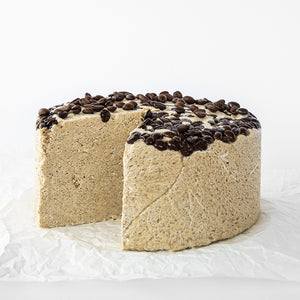 Available in 6.6 lb rounds. Seed + Mill Coffee Halva. Gluten-free, dairy-free, and vegan. Whole cake serves approx. 40-45 hungry guests! Buy a whole cake and add some excitement to any celebration!