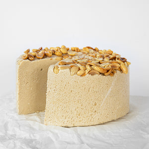 Available in 6.6 lb rounds. Seed + Mill Crunchy Peanut Butter Halva. Gluten-free, dairy-free, and vegan. Whole cake serves approx. 40-45 hungry guests! Buy a whole cake and add some excitement to any celebration!