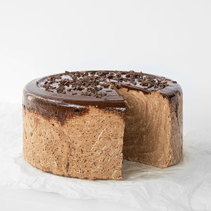 Available in 6.6 lb rounds. Seed + Mill 70% Dark Chocolate Halva. Gluten-free, dairy-free, and vegan. Whole cake serves approx. 40-45 hungry guests! Buy a whole cake and add some excitement to any celebration!