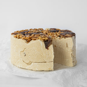 Available in 6.6 lb rounds. Seed + Mill Date Walnut Halva. Gluten-free, dairy-free, and vegan. Whole cake serves approx. 40-45 hungry guests! Buy a whole cake and add some excitement to any celebration!