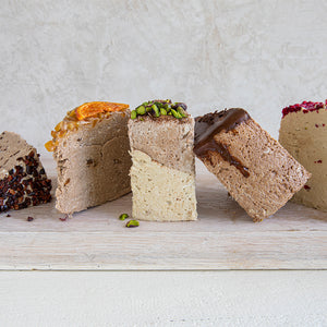 An assortment of Seed + Mill's top flavors: Cocoa Nibs, Chocolate Orange, Pistachio, Dark Chocolate, Raspberry. See our 'Create a Gift' page to put together something special for that special someone! Gluten-free, dairy-free, and vegan.