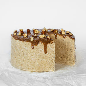Available in 6.6 lb rounds. Seed + Mill Nougat Halva. Gluten-free, dairy-free, and vegan. Whole cake serves approx. 40-45 hungry guests! Buy a whole cake and add some excitement to any celebration!