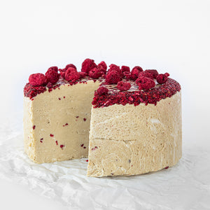 Available in 6.6 lb rounds. Seed + Mill Raspberry Halva. Gluten-free, dairy-free, and vegan. Whole cake serves approx. 40-45 hungry guests! Buy a whole cake and add some excitement to any celebration!