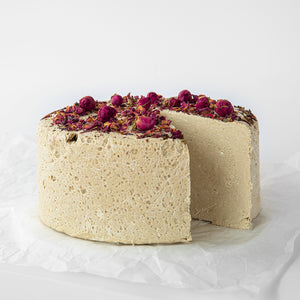 Available in 6.6 lb rounds. Seed + Mill Rose Halva. Gluten-free, dairy-free, and vegan. Whole cake serves approx. 40-45 hungry guests! Buy a whole cake and add some excitement to any celebration!